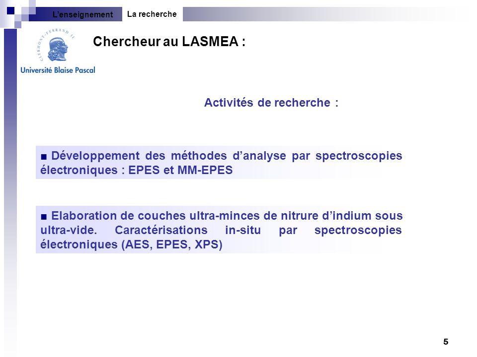 5 Activités de recherche : Développement des méthodes danalyse par spectroscopies électroniques : EPES et MM-EPES Elaboration de couches ultra-minces