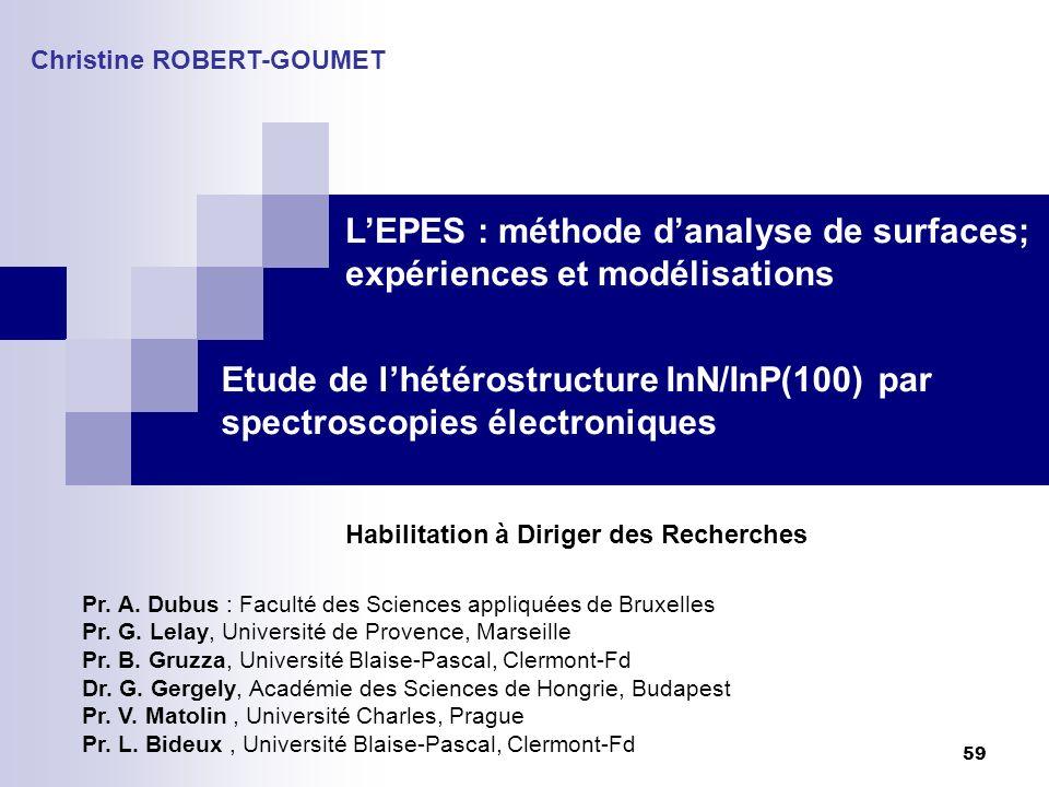 59 Etude de lhétérostructure InN/InP(100) par spectroscopies électroniques Christine ROBERT-GOUMET Habilitation à Diriger des Recherches Pr. A. Dubus
