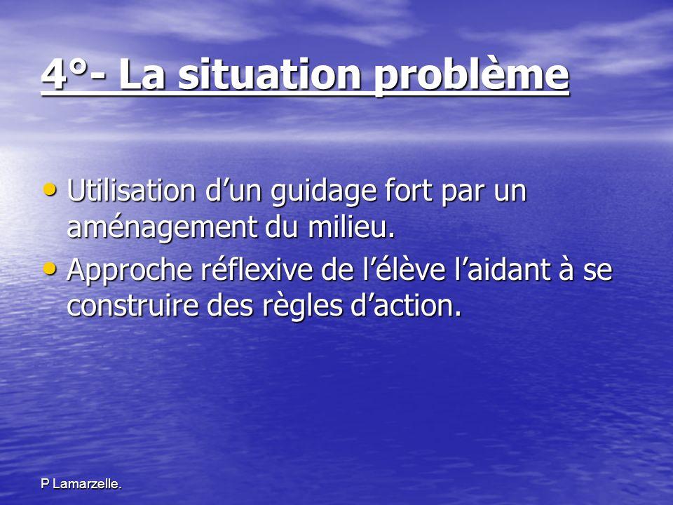 P Lamarzelle. 4°- La situation problème Utilisation dun guidage fort par un aménagement du milieu. Utilisation dun guidage fort par un aménagement du