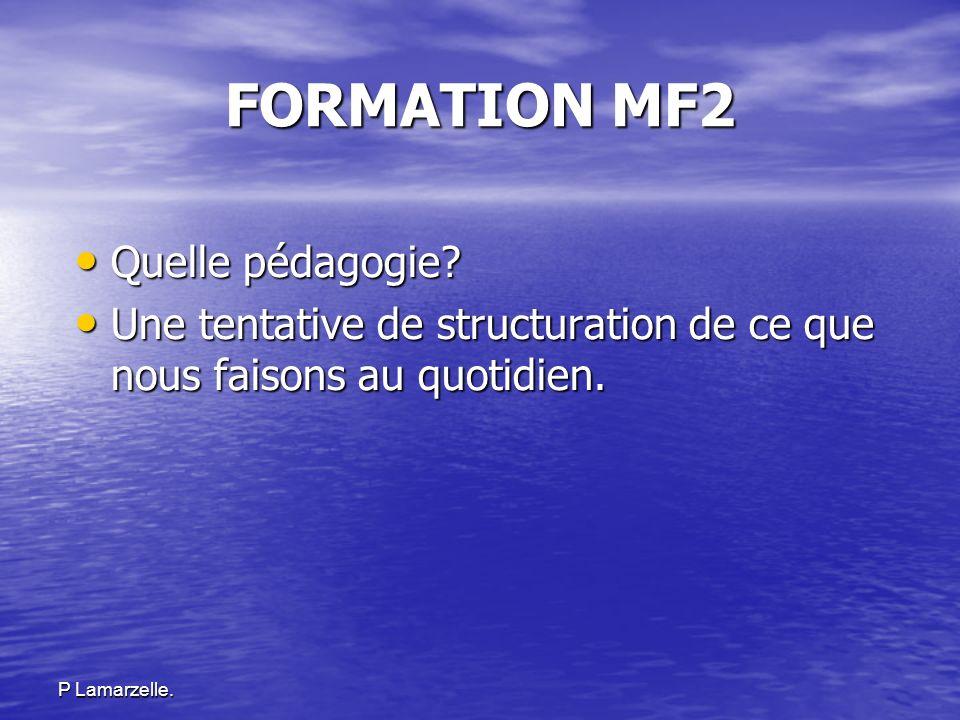 FORMATION MF2 Quelle pédagogie? Quelle pédagogie? Une tentative de structuration de ce que nous faisons au quotidien. Une tentative de structuration d