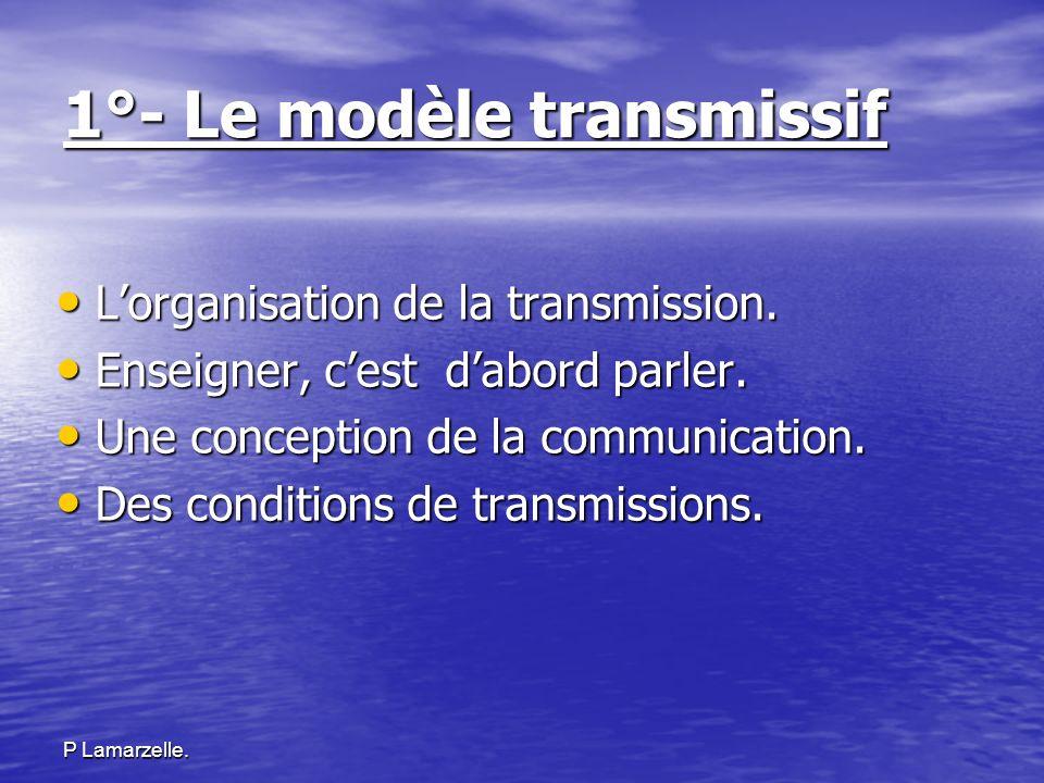 P Lamarzelle. 1°- Le modèle transmissif Lorganisation de la transmission. Lorganisation de la transmission. Enseigner, cest dabord parler. Enseigner,