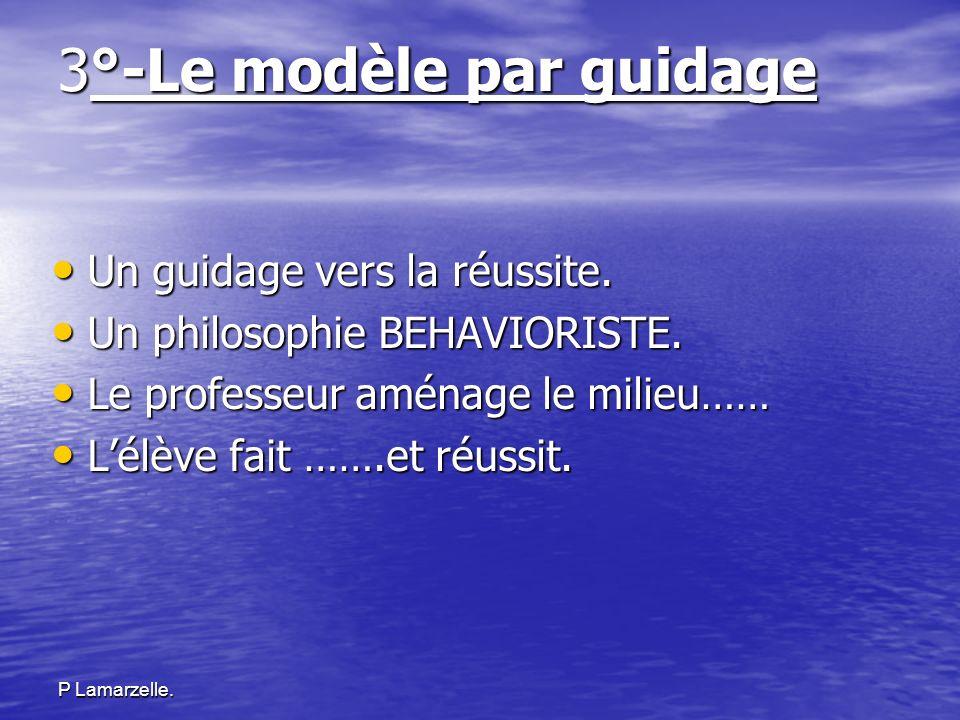P Lamarzelle. 3°-Le modèle par guidage Un guidage vers la réussite. Un guidage vers la réussite. Un philosophie BEHAVIORISTE. Un philosophie BEHAVIORI
