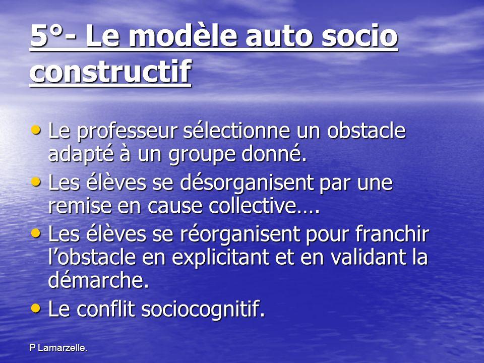 P Lamarzelle. 5°- Le modèle auto socio constructif Le professeur sélectionne un obstacle adapté à un groupe donné. Le professeur sélectionne un obstac