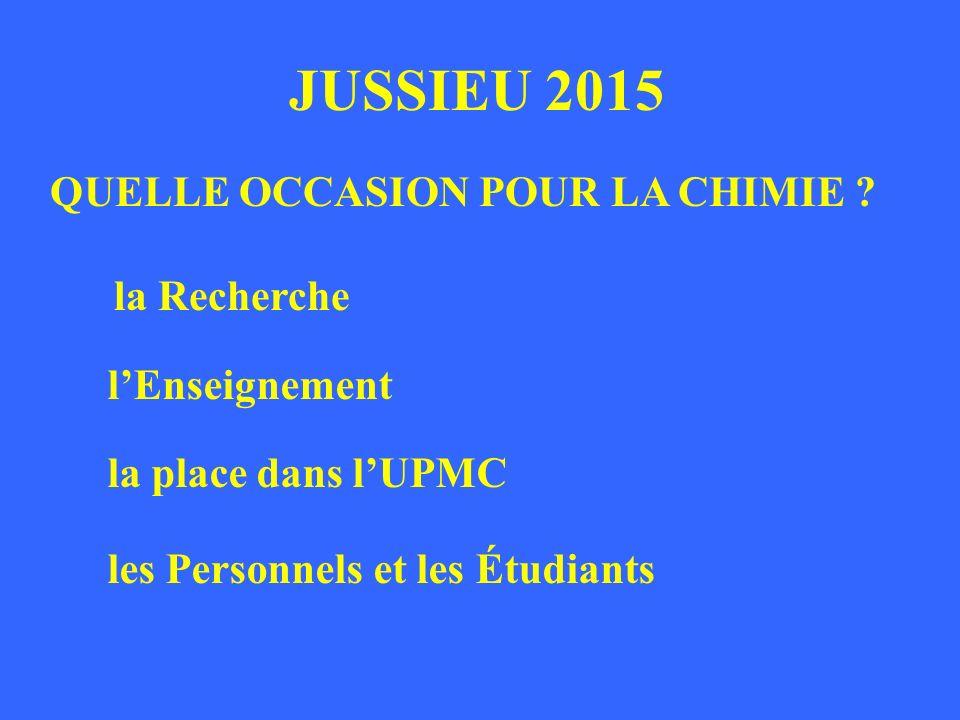 JUSSIEU 2015 QUELLE OCCASION POUR LA CHIMIE .