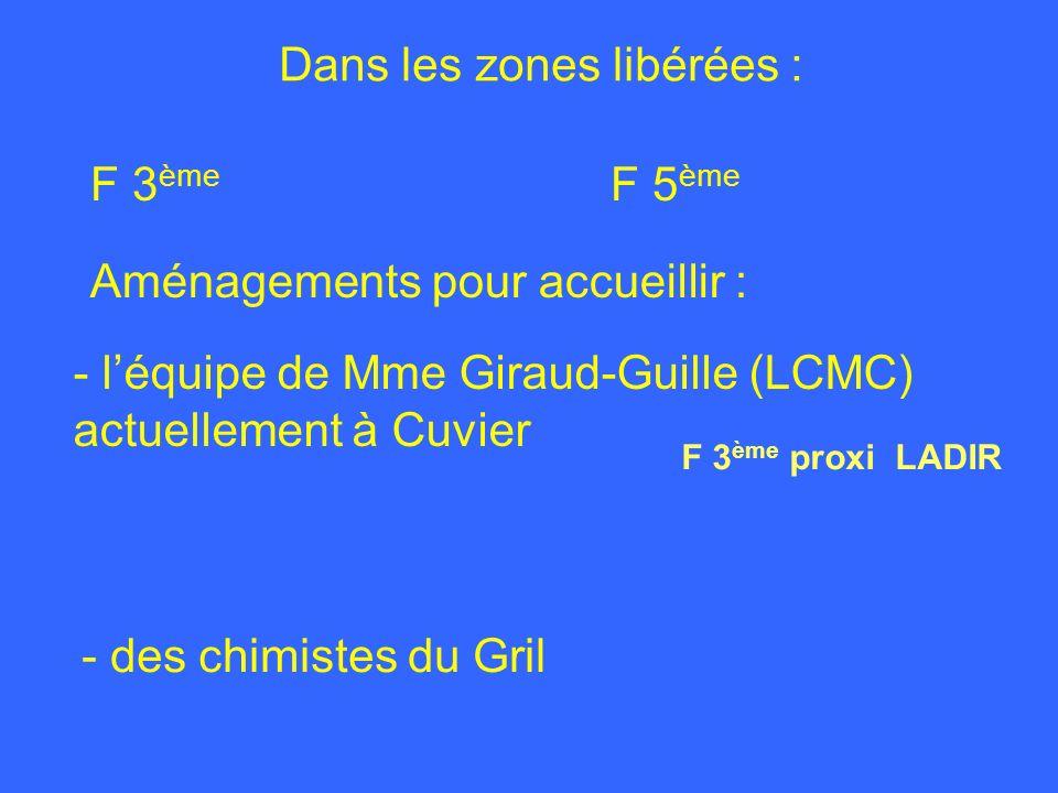 Dans les zones libérées : F 3 ème F 5 ème - des chimistes du Gril Aménagements pour accueillir : - léquipe de Mme Giraud-Guille (LCMC) actuellement à Cuvier F 3 ème proxi LADIR