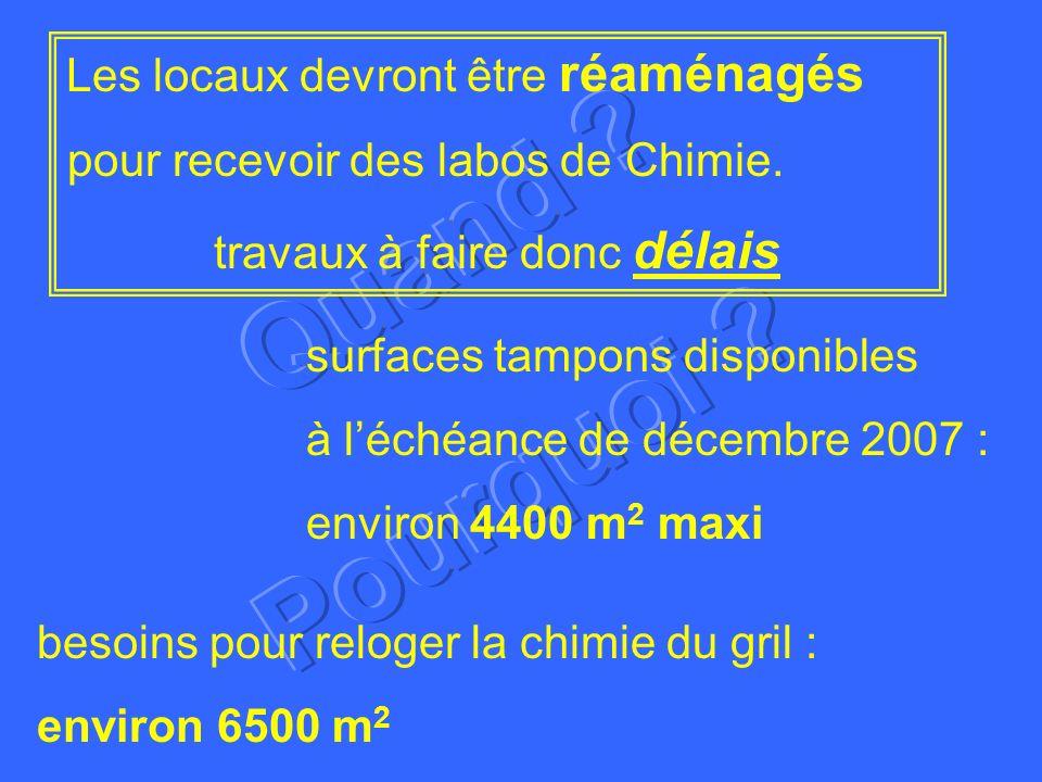 surfaces tampons disponibles à léchéance de décembre 2007 : environ 4400 m 2 maxi Les locaux devront être réaménagés pour recevoir des labos de Chimie.