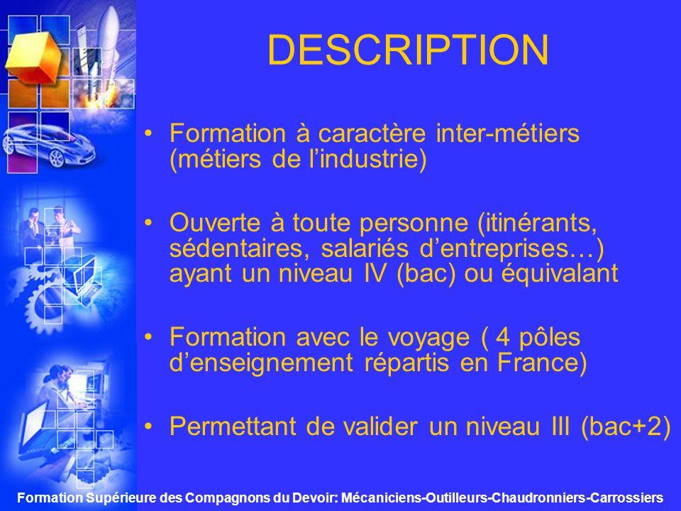 Formation Supérieure des Compagnons du Devoir: Mécaniciens-Outilleurs-Chaudronniers-Carrossiers PLANNING mini regroupements