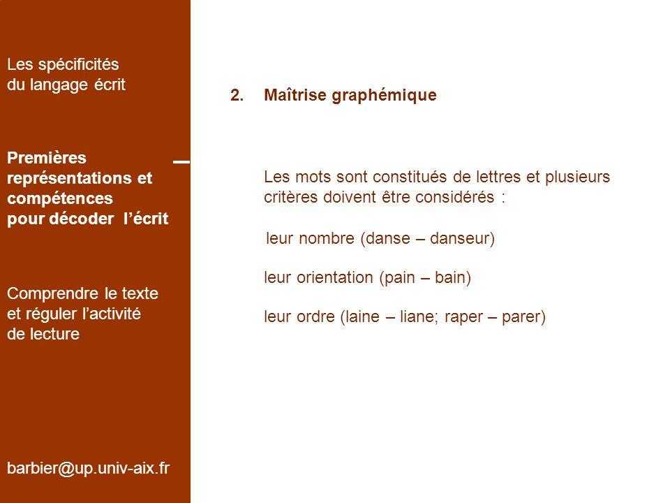 2.Maîtrise graphémique barbier@up.univ-aix.fr Les spécificités du langage écrit Premières représentations et compétences pour décoder lécrit Comprendr