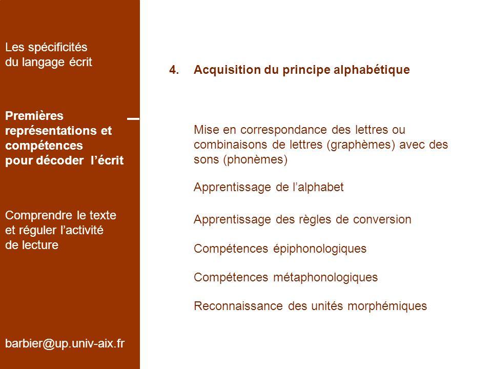 4.Acquisition du principe alphabétique barbier@up.univ-aix.fr Les spécificités du langage écrit Premières représentations et compétences pour décoder