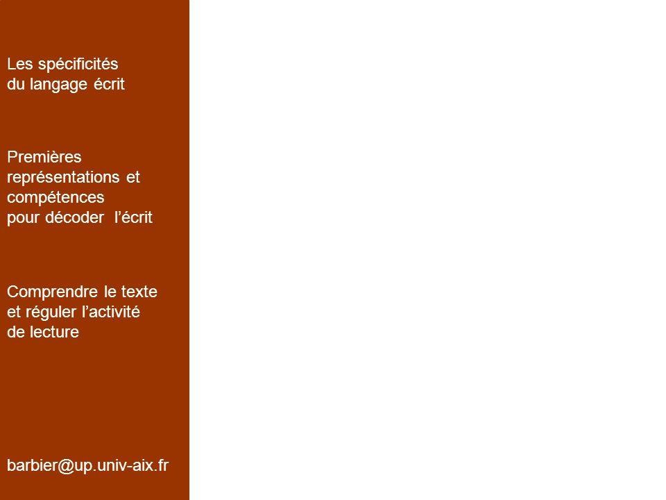1.Connaissances des caractéristiques de lécrit barbier@up.univ-aix.fr Les spécificités du langage écrit Premières représentations et compétences pour décoder lécrit Comprendre le texte et réguler lactivité de lecture Avant 3 ans : écrire, cest dessiner 3 ans : lécrit est une trace différente; trace de directionnalité, de linéarité, et discrimination des unités; importance de la gestualité 4 ans : lécrit a un statut idéographique; la longueur dun mot est proportionnelle à la taille du référent.