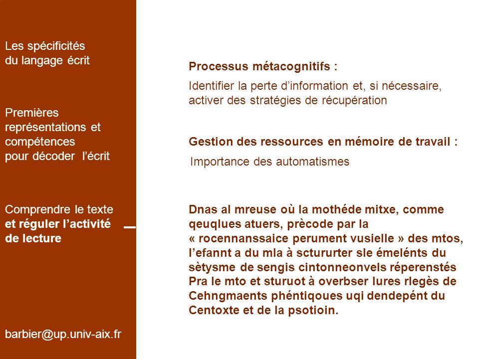 barbier@up.univ-aix.fr Les spécificités du langage écrit Premières représentations et compétences pour décoder lécrit Comprendre le texte et réguler l