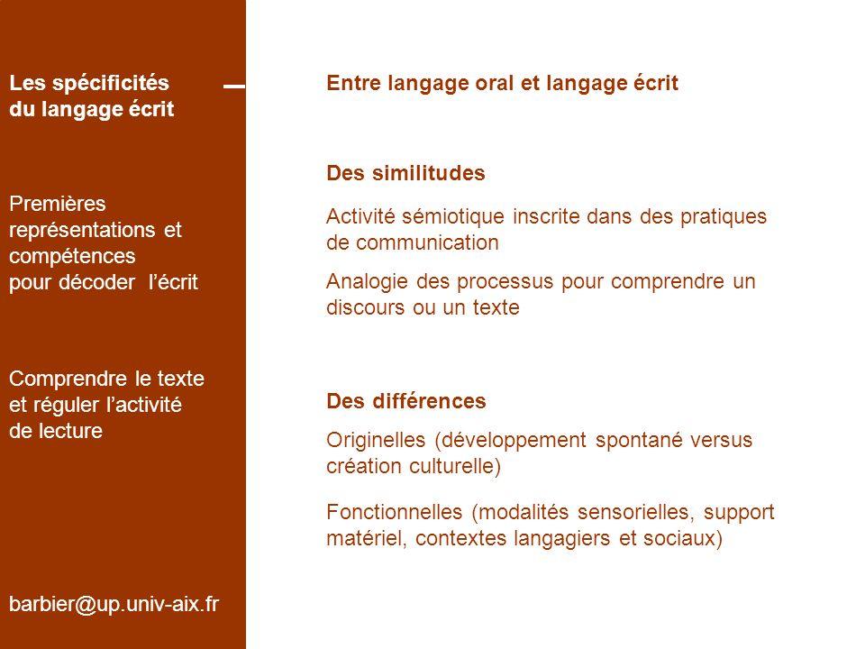 barbier@up.univ-aix.fr Les spécificités du langage écrit Premières représentations et compétences pour décoder lécrit Comprendre le texte et réguler lactivité de lecture Références Chauveau, G.