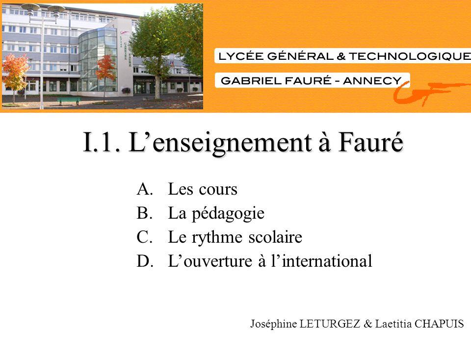 A.Les cours B.La pédagogie C.Le rythme scolaire D.Louverture à linternational Joséphine LETURGEZ & Laetitia CHAPUIS I.1. Lenseignement à Fauré