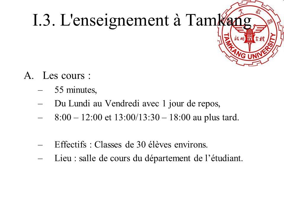 I.3. L'enseignement à Tamkang A.Les cours : –55 minutes, –Du Lundi au Vendredi avec 1 jour de repos, –8:00 – 12:00 et 13:00/13:30 – 18:00 au plus tard