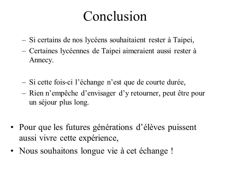 Conclusion –Si certains de nos lycéens souhaitaient rester à Taipei, –Certaines lycéennes de Taipei aimeraient aussi rester à Annecy. –Si cette fois-c
