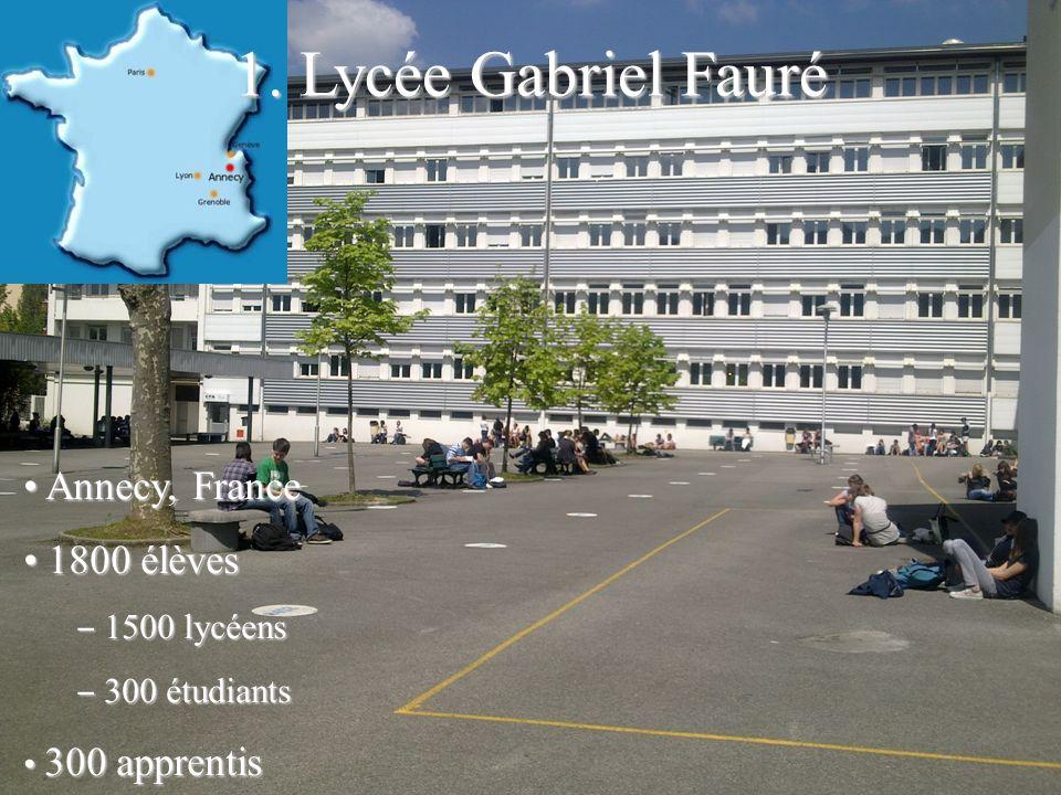 Annecy, France Annecy, France 1800 élèves 1800 élèves 1500 lycéens 1500 lycéens 300 étudiants 300 étudiants 300 apprentis 300 apprentis 1. Lycée Gabri