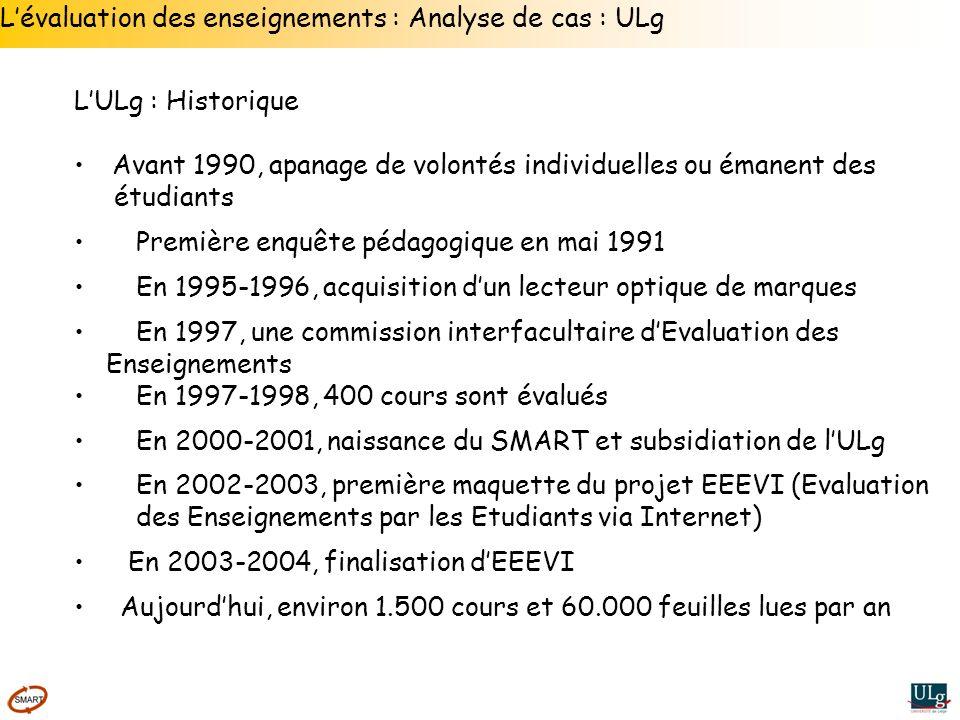 Lévaluation des enseignements : Analyse de cas : ULg LULg : Historique Avant 1990, apanage de volontés individuelles ou émanent des étudiants Première