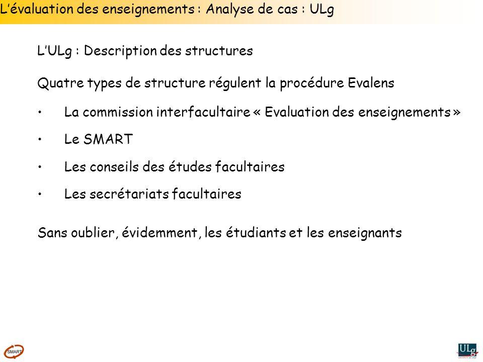 Lévaluation des enseignements : Analyse de cas : ULg LULg : Description des structures Quatre types de structure régulent la procédure Evalens La comm