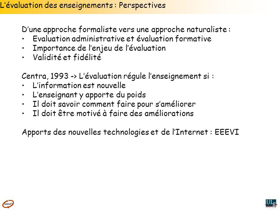 Lévaluation des enseignements : Perspectives Dune approche formaliste vers une approche naturaliste : Evaluation administrative et évaluation formativ