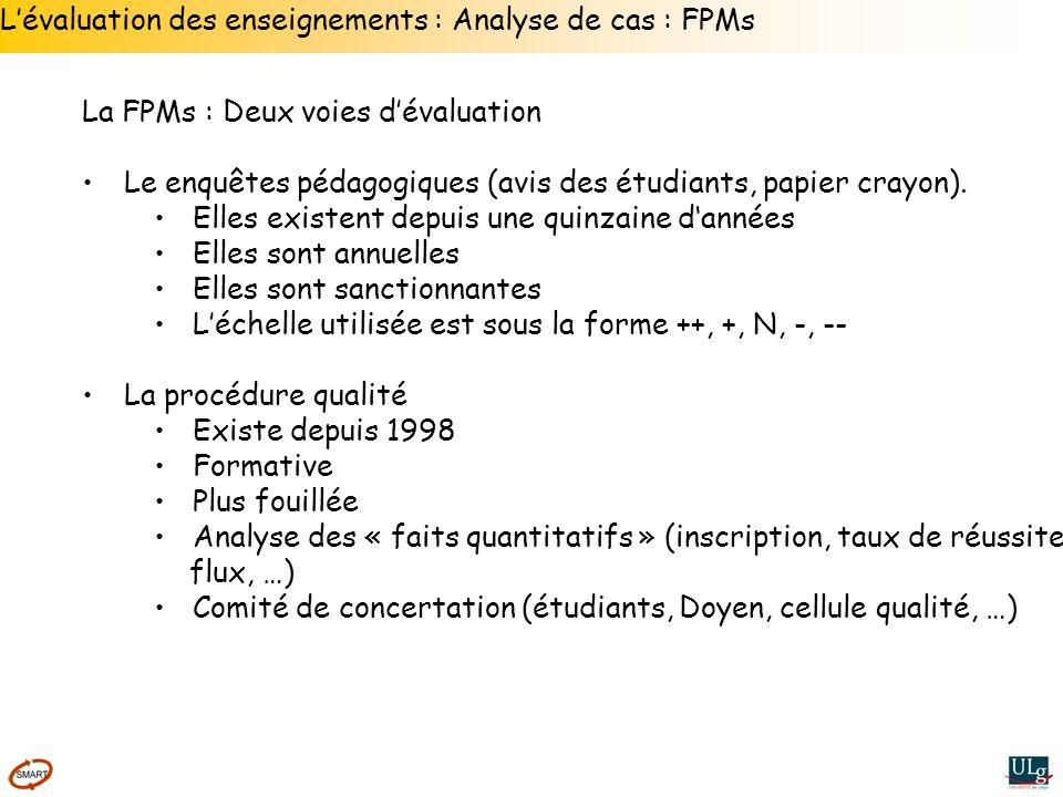 Lévaluation des enseignements : Analyse de cas : FPMs La FPMs : Deux voies dévaluation Le enquêtes pédagogiques (avis des étudiants, papier crayon). E