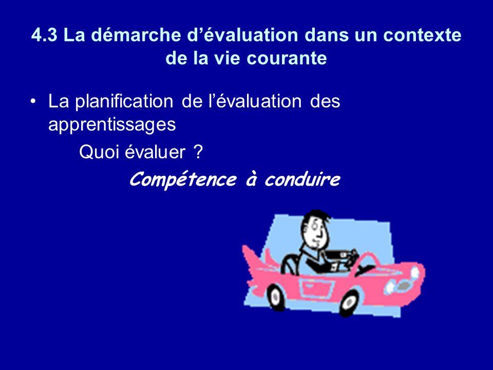 4.3 La démarche dévaluation dans un contexte de la vie courante La planification de lévaluation des apprentissages Quoi évaluer ? Compétence à conduir