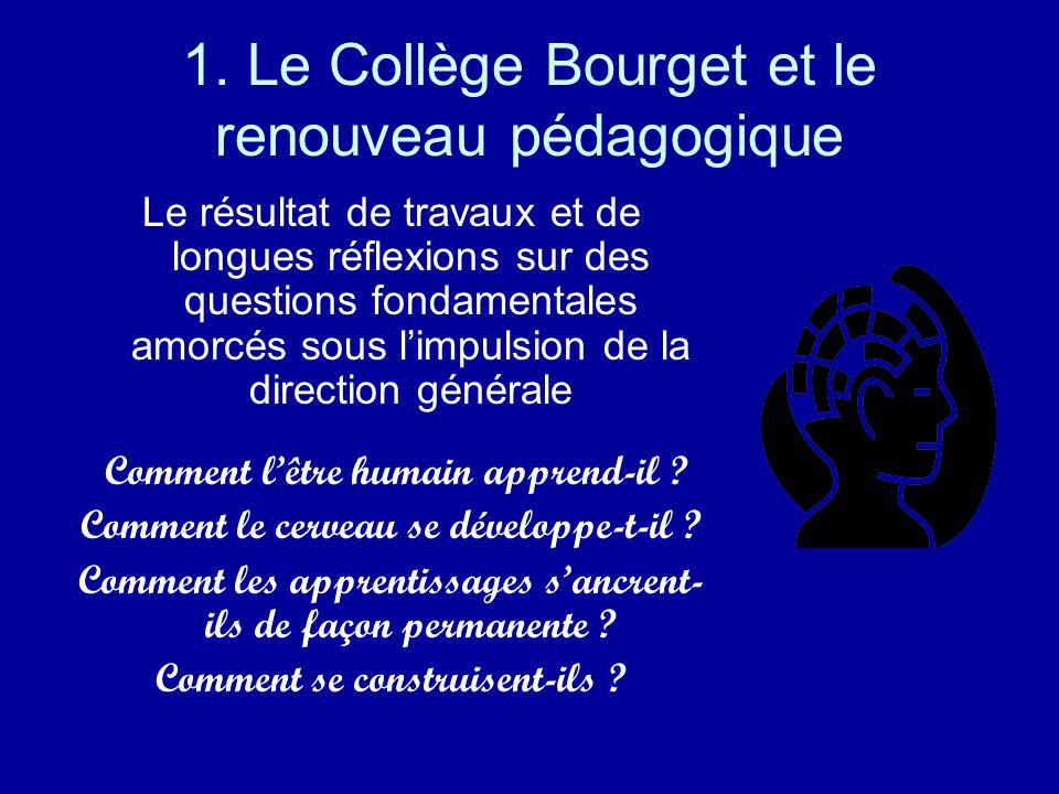 1. Le Collège Bourget et le renouveau pédagogique Le résultat de travaux et de longues réflexions sur des questions fondamentales amorcés sous limpuls