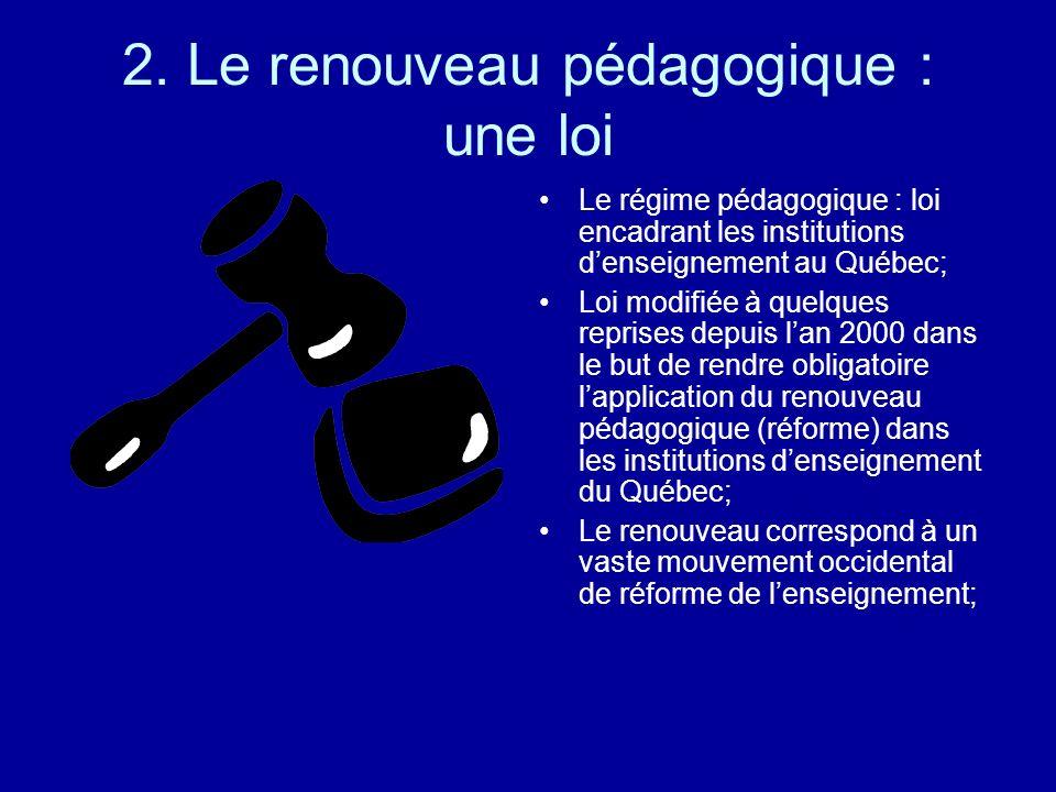 2. Le renouveau pédagogique : une loi Le régime pédagogique : loi encadrant les institutions denseignement au Québec; Loi modifiée à quelques reprises