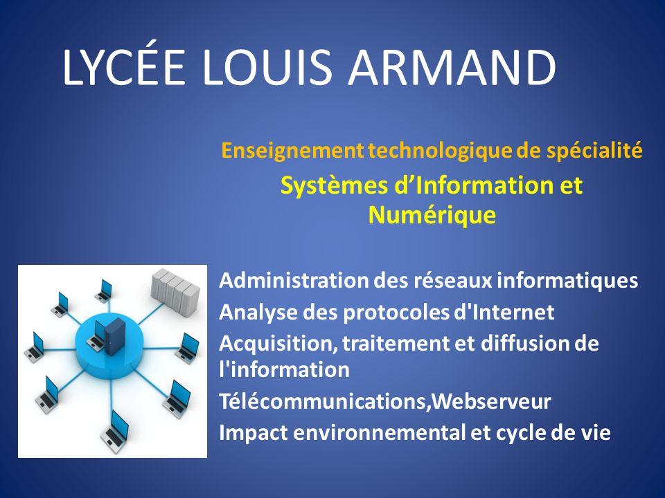LYCÉE LOUIS ARMAND Enseignement technologique de spécialité Systèmes dInformation et Numérique Administration des réseaux informatiques Analyse des pr