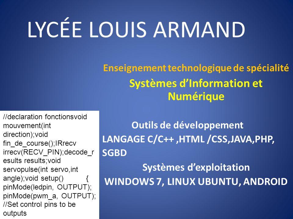 LYCÉE LOUIS ARMAND Enseignement technologique de spécialité Systèmes dInformation et Numérique Outils de développement LANGAGE C/C++,HTML /CSS,JAVA,PH