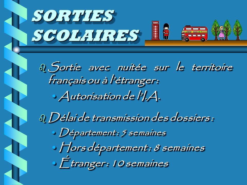 SORTIES SCOLAIRES b Sortie avec nuitée sur le territoire français ou à létranger : Autorisation de lI.A.Autorisation de lI.A.