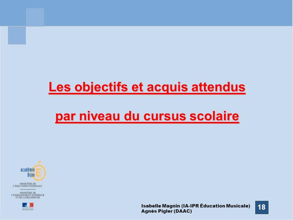 18 Les objectifs et acquis attendus par niveau du cursus scolaire Isabelle Magnin (IA-IPR Éducation Musicale) Agnès Pigler (DAAC)