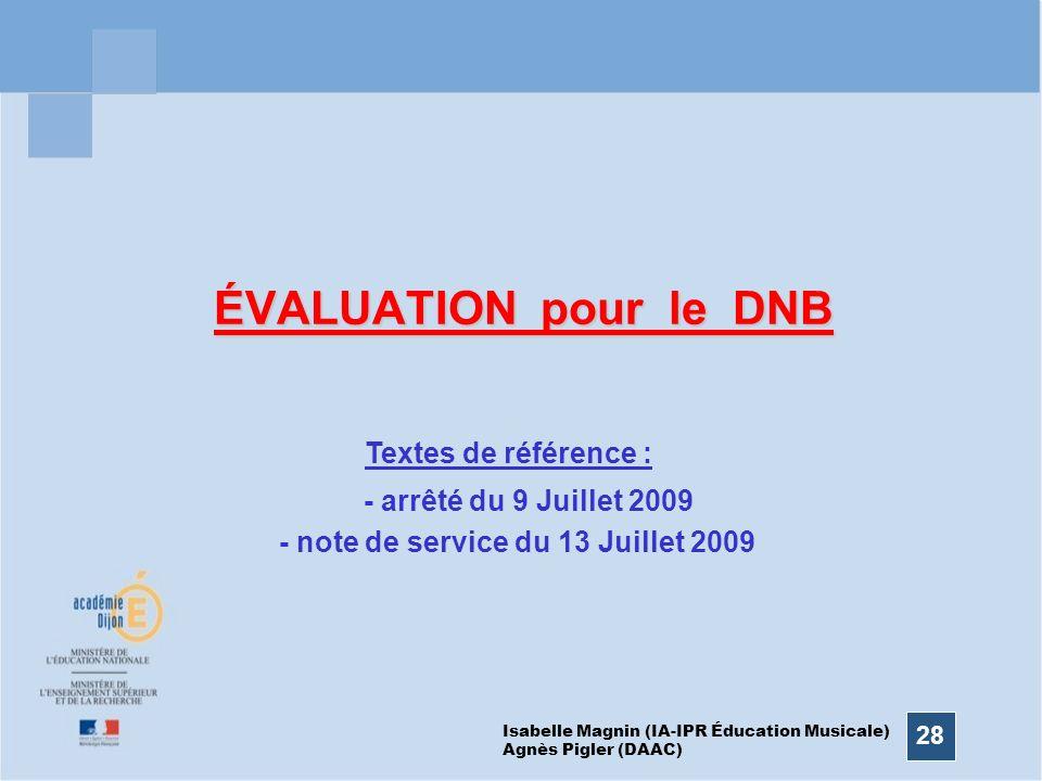 28 ÉVALUATION pour le DNB Isabelle Magnin (IA-IPR Éducation Musicale) Agnès Pigler (DAAC) Textes de référence : - arrêté du 9 Juillet 2009 - note de s