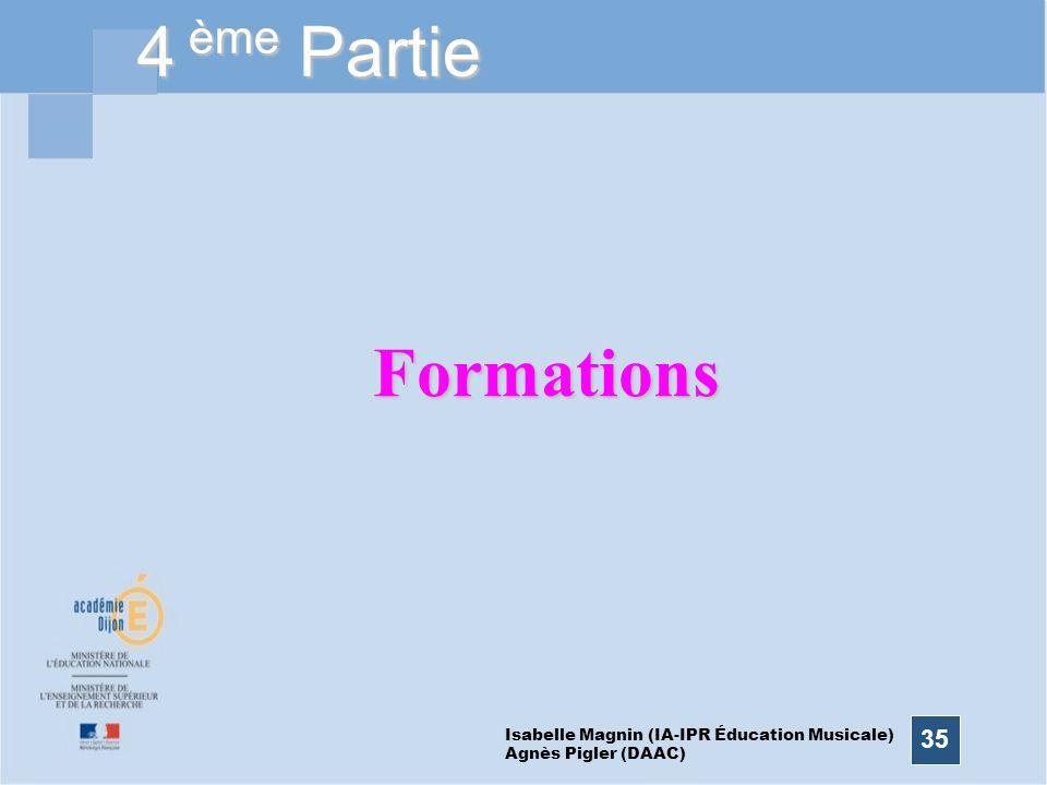 35 4 ème Partie Formations Isabelle Magnin (IA-IPR Éducation Musicale) Agnès Pigler (DAAC)