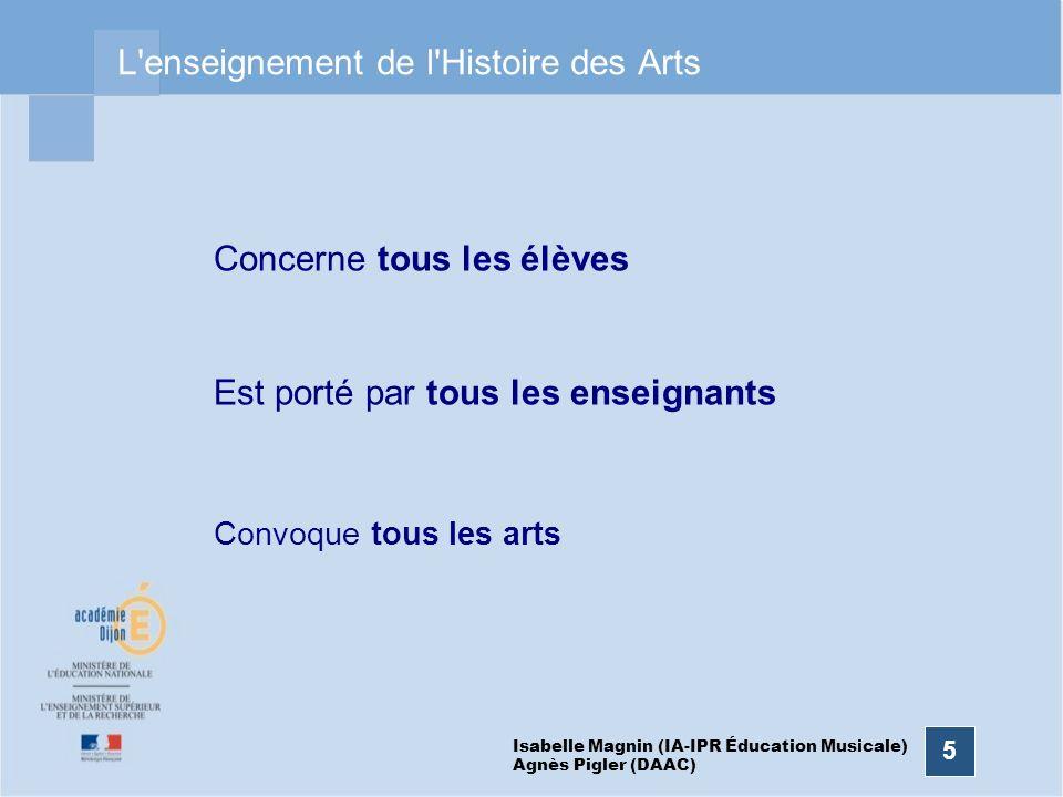 5 L'enseignement de l'Histoire des Arts Concerne tous les élèves Est porté par tous les enseignants Convoque tous les arts Isabelle Magnin (IA-IPR Édu
