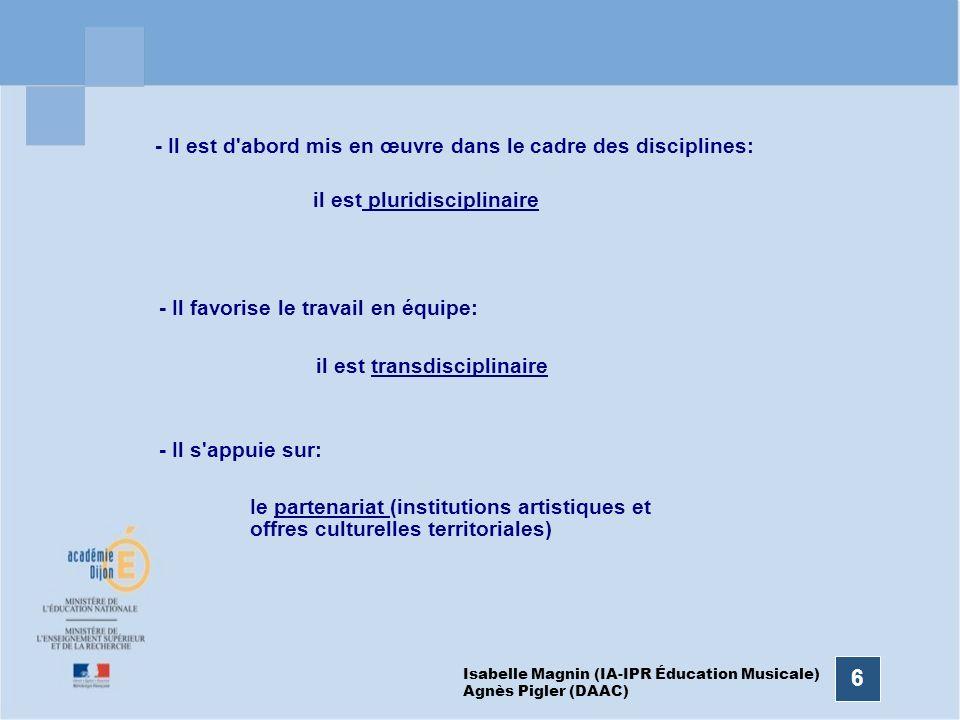 6 - Il est d'abord mis en œuvre dans le cadre des disciplines: il est pluridisciplinaire - Il favorise le travail en équipe: il est transdisciplinaire