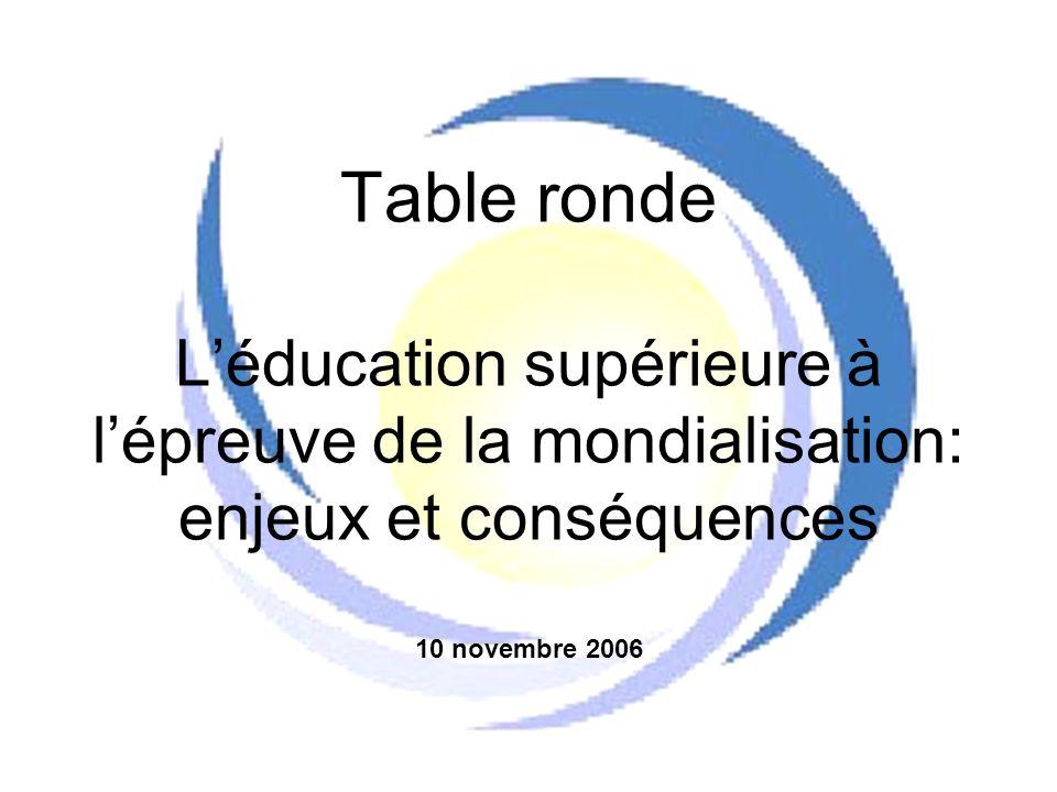 Table ronde Léducation supérieure à lépreuve de la mondialisation: enjeux et conséquences 10 novembre 2006