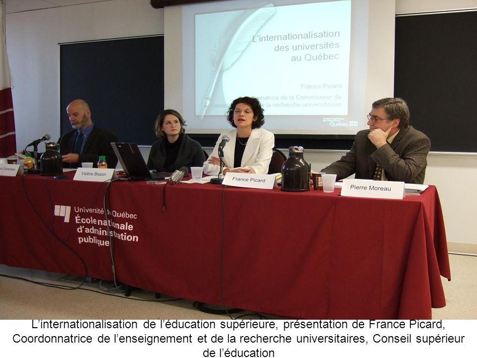 Linternationalisation de léducation supérieure, présentation de France Picard, Coordonnatrice de lenseignement et de la recherche universitaires, Cons