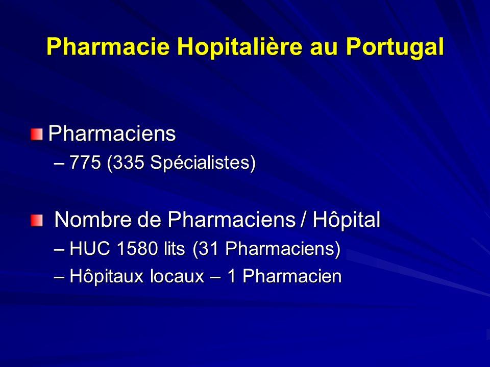 Pharmacie Hospitalière au Portugal Spécialistes (Ordre des Pharmaciens) –5 années dactivité professionnelle consécutive –Examen à lOrdre