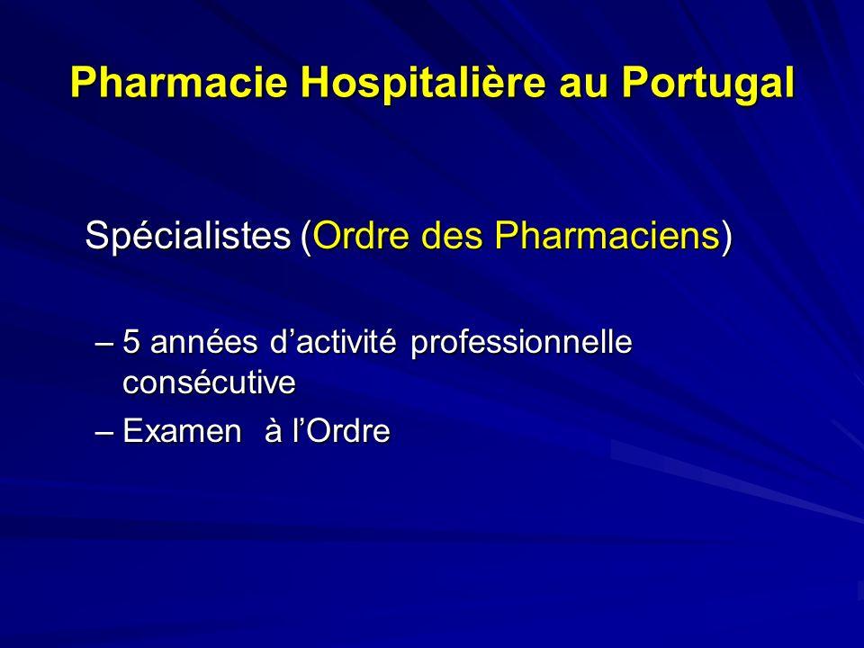 Pharmacie Hospitalière au Portugal Spécialistes (Ministère de la Santé) –Stage 3 ans –Accès par concours public national –Examen final public