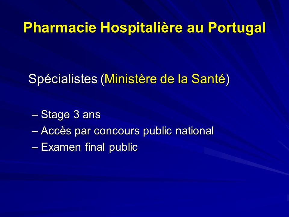 Spécialisation en Pharmacie Hospitalière Stage de 3 ans: –Santé publique (24 semaines ) –Pharmacie Hospitalière Magasin (16 sem.) Distribution (48 sem.): Ambulatoire; Dose Unitaire / Dist.