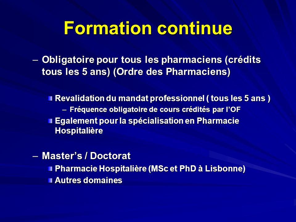 Pharmacie Hospitalière au Portugal Principales Activités –« Pharmaceutical Care » dans ses différentes dimensions Administration et gestion des thérapeutiques ProductionDistributionMonitoring Participation active des pharmaciens dans les équipes de santé et rôle dans la « compliance du patient » Nouveaux défis…