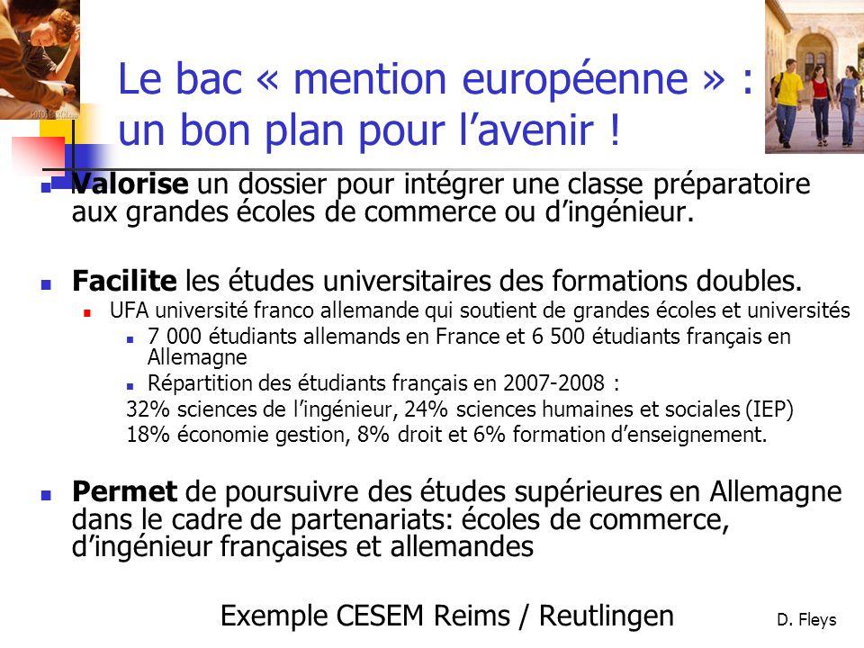 D. Fleys Le bac « mention européenne » : un bon plan pour lavenir ! Valorise un dossier pour intégrer une classe préparatoire aux grandes écoles de co