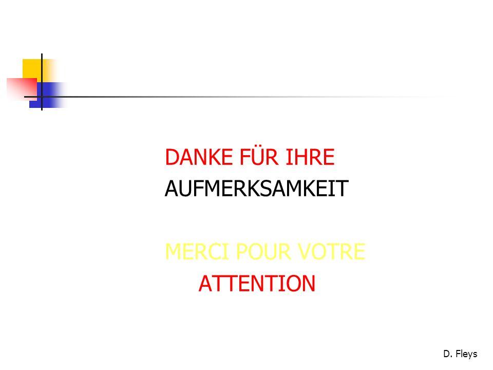 D. Fleys DANKE FÜR IHRE AUFMERKSAMKEIT MERCI POUR VOTRE ATTENTION