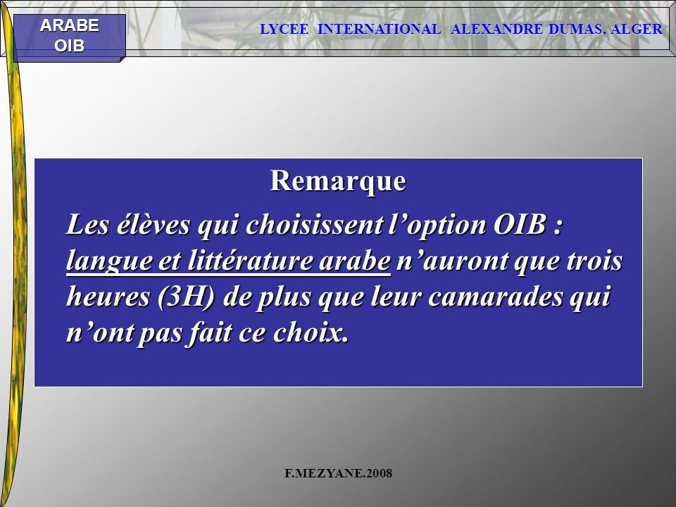 LYCEE INTERNATIONAL ALEXANDRE DUMAS, ALGER ARABEOIB F.MEZYANE.2008 Remarque Les élèves qui choisissent loption OIB : langue et littérature arabe nauro
