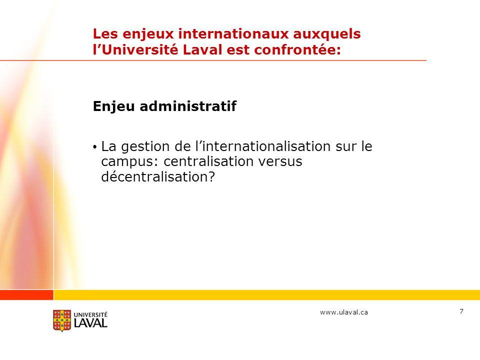 www.ulaval.ca 7 Les enjeux internationaux auxquels lUniversité Laval est confrontée: Enjeu administratif La gestion de linternationalisation sur le campus: centralisation versus décentralisation