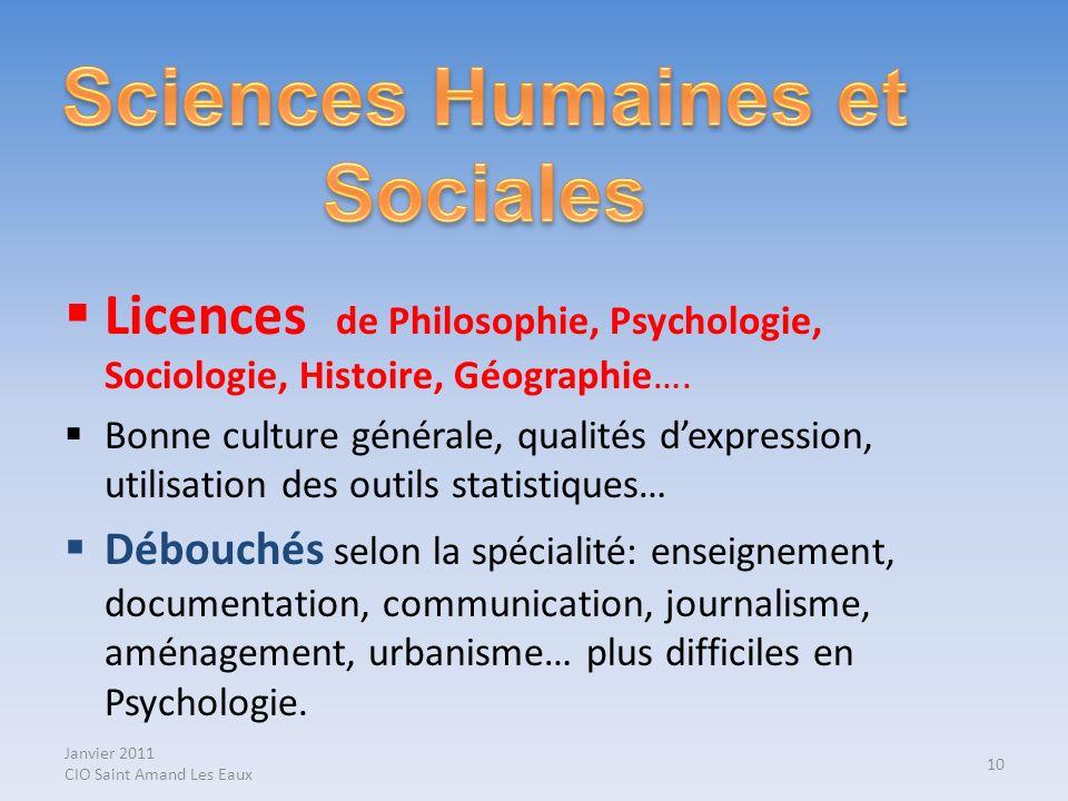 Janvier 2011 CIO Saint Amand Les Eaux Licences de Philosophie, Psychologie, Sociologie, Histoire, Géographie…. Bonne culture générale, qualités dexpre