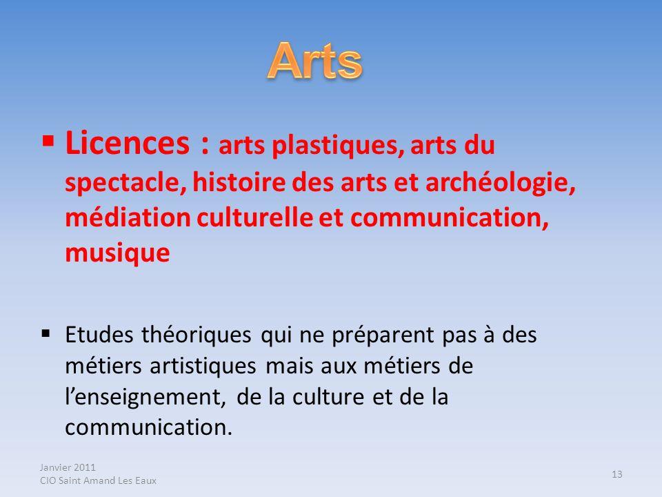 Janvier 2011 CIO Saint Amand Les Eaux Licences : arts plastiques, arts du spectacle, histoire des arts et archéologie, médiation culturelle et communi