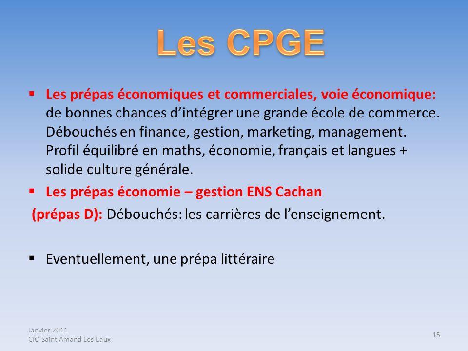 Janvier 2011 CIO Saint Amand Les Eaux Les prépas économiques et commerciales, voie économique: de bonnes chances dintégrer une grande école de commerc