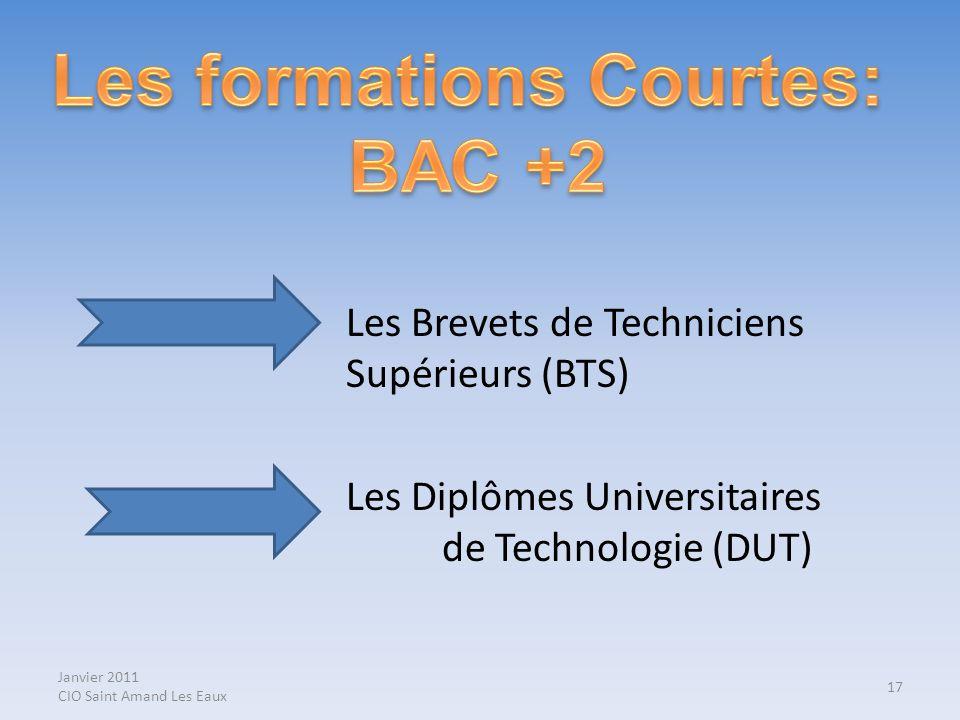 Janvier 2011 CIO Saint Amand Les Eaux Les Brevets de Techniciens Supérieurs (BTS) Les Diplômes Universitaires de Technologie (DUT) 17