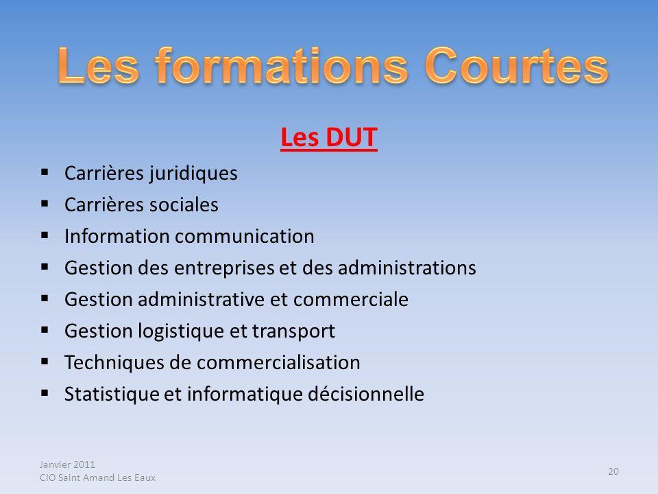 Janvier 2011 CIO Saint Amand Les Eaux Les DUT Carrières juridiques Carrières sociales Information communication Gestion des entreprises et des adminis